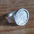 Ring set with a roman coin